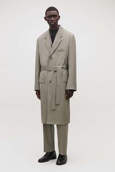 LONG BELTED COAT - Mid-grey - Coats and Jackets - COS Belted Coat, Belt Tying, New Product, Grey Coats, Suit Jacket, Fashion Looks, Silhouette, Man Shop, Pure Products