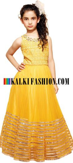Buy Online from the link below. We ship worldwide (Free Shipping over US$100)  http://www.kalkifashion.com/yellow-gown-featuring-with-thread-embroidered-yoke.html
