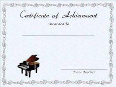 free editable, printable piano achievement certificate