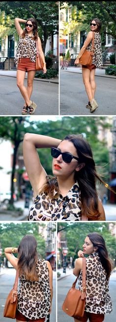 Love this leopard shirt from f21. I just bought it and haven't worn it but I love the way she styled it
