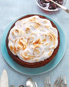 Martha Stewart's Flourless Chocolate-Almond Torte with Cherry Preserves and Kirsch Meringue