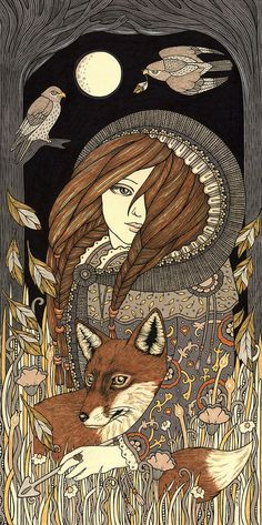 Vila Painting by Anita Inverarity....Vila is a Nordic Goddess and protector of animals