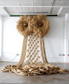giant brown macrame owl