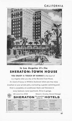1950s Hotel Advertisement - Sheraton Town House Los Angeles California - Vintage Antique Retro 50s Era Pop Art Ad for Framing 50 Years Old. $10.00, via Etsy.