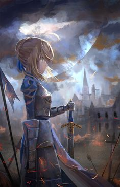 Anime 1552x2400 anime anime girls Fate/Zero Fate/Stay Night Saber armor sword weapon Moon short hair blonde http://amzn.to/2kU7l48