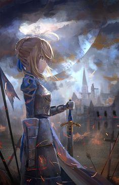Anime 1552x2400 anime anime girls Fate/Zero Fate/Stay Night Saber armor sword weapon Moon short hair blonde