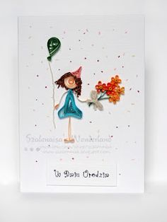quilling birthday girl with balloon and flowers