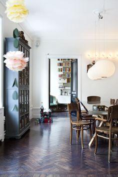 Amazing floors, white walls with black interior doors