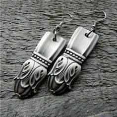 Silver Spoon Earrings Antique Silverware Jewelry by Revisions, $26.50