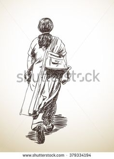 Stock Images similar to ID 270540776 - sketch of old man walking. Abstract Pencil Drawings, Pencil Sketching, Figure Sketching, Ink Drawings, Easy Drawings, Human Figure Sketches, Human Figure Drawing, Road Safety Poster, Old Man Walking