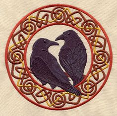 A pair of ravens, Hugin and Munin (thought and memory), bring news of the world to the Norse god Odin.