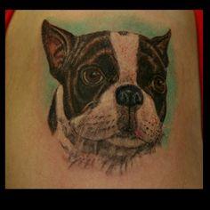 Boston Terrier tattoo Boston Terrier Tattoo, Boston Terriers, Boston Art, Animal Categories, Animal Tattoos, Tatoos, Tatting, Creatures, Faces