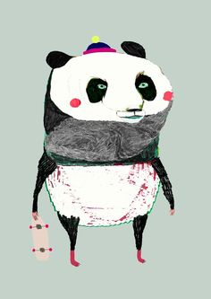 The Panda. limited edition art print by illustrator Ashley Percival.. (Had me at the skateboard)