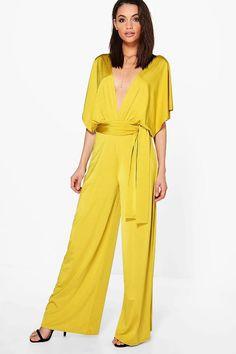 29f7b59a4fb Ana Plunge Kimono Style Wide Leg Jumpsuit Yellow Jumpsuit