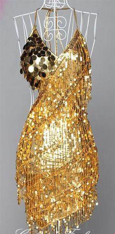 Beautiful bead and sequin ballroom dancing dress.