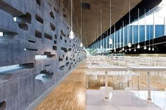 Set of Herzog & de Meuron building in Spain, the Espacio de las Artes at Santa Cruz, Tenerife Amazing Architecture, Architecture Details, Interior Architecture, Brick Bonds, Beautiful Library, Commercial Interior Design, National Parks, Photo Wall, Museum