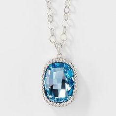 Graphic Long Pendant, Aquamarine - Touchstone Crystal Online Shop