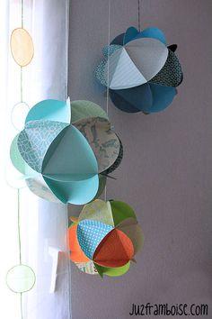 Tuto Globes de papier (DIY paper globes) by Origami Mobile, Paper Mobile, Origami Paper, Diy Paper, Paper Crafts, Eid Crafts, Diy And Crafts, Papier Diy, Paper Balls