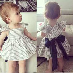 2016 Zomer Pasgeboren Meisje Sets Grote Boog Backless Streep Jurk + PP Shorts 2…
