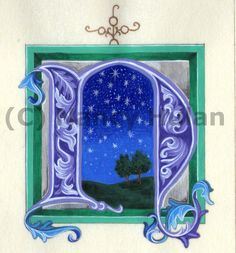 Alphabet Letter N, Medieval Illuminated Letter with Frame,