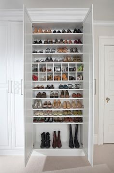 Shoe storage White Painted Maple Dressing Room, Westchester County, NY - traditional - closet - new york - transFORM Master Closet, Closet Bedroom, Closet Space, Shoe Closet, Shoe Wardrobe, Shoe Room, Ikea Closet, Bedroom Shelves, Built In Wardrobe