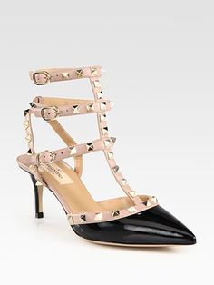Valentino - Patent Leather and Studded Leather Slingback Pumps - Saks.com