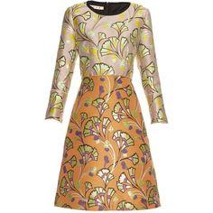 Marni Floral-jacquard A-line dress (€1.090) ❤ liked on Polyvore featuring dresses, vestidos, orange multi, retro dresses, a line dress, flower print dress, floral jacquard dress and beige dress