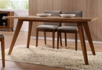Modern dining table with American zebra veneer top and solid wood legs. Modern Dining Table, Dinning Table, Dining Bench, Dining Chairs, Condo Furniture, Modern Furniture, Bordeaux, Office Chairs Canada, Interior Inspiration