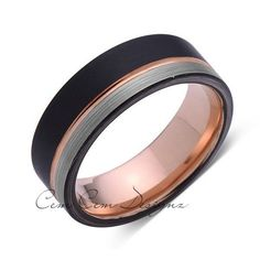 Rose Gold Tungsten Wedding Band - Black and Gray Brushed Tungsten Ring - 8mm - Mens Ring - Tungsten Carbide - Engagement Band - Comfort Fit - LUXURY BANDS LA