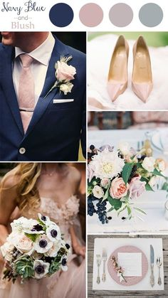 wedding color trends 2016 navy blue and blush: More