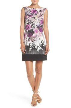 Adrianna Papell Floral Print Stretch A-Line Dress (Regular & Petite)