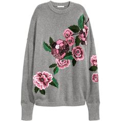 Embroidered Sweater $79.99 ($80) ❤ liked on Polyvore featuring tops, sweaters, sequin top, sequin sweater, gray sweater, oversized sweaters and beaded sweaters