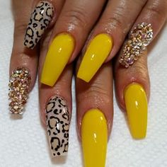 Coffin nails with cheetah design and bling ♦