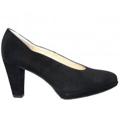 Peter Kaiser Violetta black suede classic court shoes - iconic Peter Kaiser court shoe last with flattering cut out