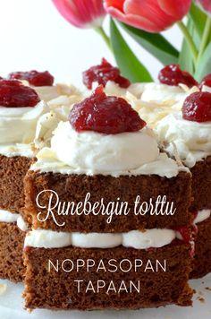 Runebergin-torttu-noppasopan-tapaan Cheesecake, Sweets, Desserts, Food, Cheesecake Cake, Sweet Pastries, Postres, Gummi Candy, Deserts