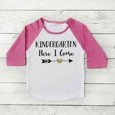 Back to School Shirt, Kindergarten Here I Come Shirt Girl First Day of School Photo Prop 298 #1st_day_of_school #1st_day_outfit #back_to_school