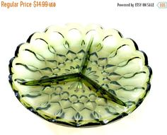 vintage green glass divided serving plate retro antique green divided serving tray platter (12.74 USD) by PlasticPinkFlamingos