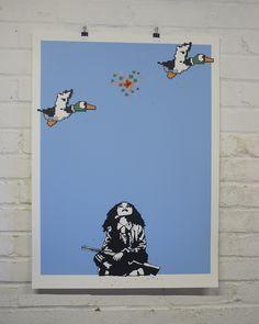 """Duck Hunt"" by European Bob. 56 x 76cm 8-color Screenprint. Ed of 20 S/N."