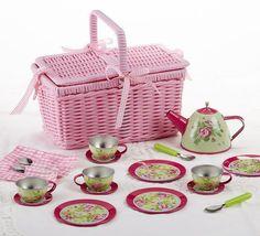 Each set has a set of 4 cups, 4 saucers, 4 plates plus picnic style basket that contains flatware. Food Safe