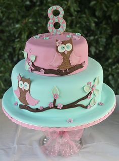 Owl cake for Tilly's 8th Birthday...... | by Fiona Hirons