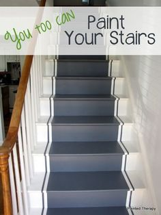 gray stairs with white risers - Google Search Painted Staircases, Painted Stairs, Painting Wooden Stairs, Basement Steps, Architecture Restaurant, Restaurant Design, Painted Wood Floors, Wood Stain, Flooring For Stairs