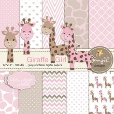 Giraffe Girl Baby Shower Digital Papers and by JennyLDesignsShop