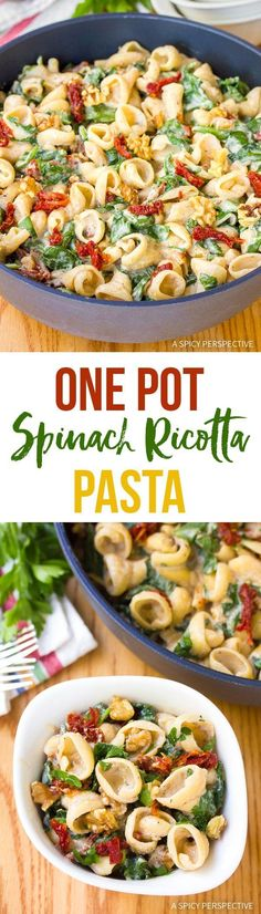 One-Pot Spinach Ricotta Pasta Recipe – A delectable creamy pasta dish  the whole family will love! Fresh ricotta cheese melted into pasta with  garlic, walnuts, and sun-dried tomatoes.