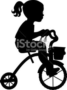 Tricycle, Silhouette, Petites filles, Cyclisme, Queue-de-cheval Illustration vectorielle libre de droits