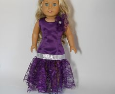American Girl doll clothes  Purple Fancy Dress by thesewingshed