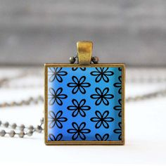 Blue necklace Flower picture necklace Photo charm necklace Square pendant necklace Glass dome jewelry Gift for her 5054-4 by StudioDbronze
