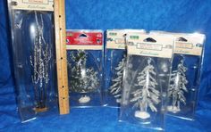 Lemax Village Collection Trees 5 Iced Pines,1 Snowed Sycamore,1 Snowed Pine 1115