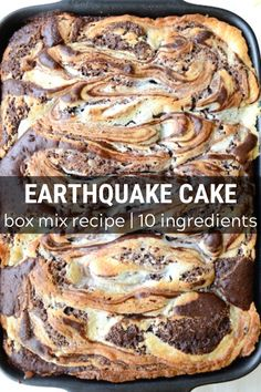 Earthquake Cake starts with a box of german chocolate cake mix, then add in coconut, chocolate chips, pecans, and a yummy cream cheese swirl! You don't have to frost this cake because the cream cheese mixture becomes a layer of frosting INSIDE the cake. It cracks open after baking, resulting in the name - Earthquake cake! One of the best cakes to serve for a party.  #earthquakecake #cake