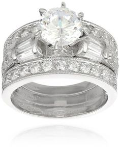 Sterling Silver Round Cubic Zirconia with Decorated Band and 2 Pave Frontal Wedding Ring, Set of 3 Amazon Curated Collection. $49.00. Made in Thailand. Ring with Center Stone is .3 inches in height and 2 millimeters in width, each Pave Band is 3.2 millimeters in width