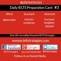 Free Daily #IELTS Exam Preparation Card #3 Share and Follow Us http://www.ieltstrategies.com  https://www.facebook.com/pages/IELTS-Strategies/843554132329849 https://www.facebook.com/groups/600118753436854/ https://plus.google.com/+Ieltstrategiesieltspreparation/ https://twitter.com/ieltstrategies  http://www.pinterest.com/evangelineemeka/ielts-preparation/ http://ieltstrategies.tumblr.com/